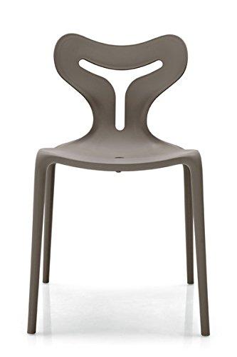 Calligaris Lot DE 4 chaises empilable Area51 également pour Usage extérieur - Structure PP Taupe Mat P900