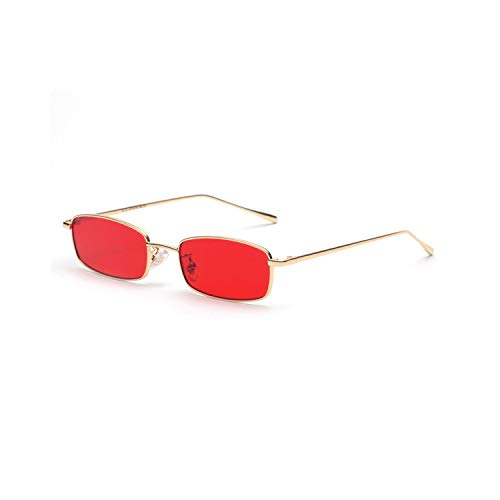 Vikimen Sportbrillen, Angeln Golfbrille,Small Rectangle Sunglasses Men Red Lens Yellow NEW Metal Frame Clear Lens Sun Glasses For Women Unisex Uv400 as show in photo gold with clear