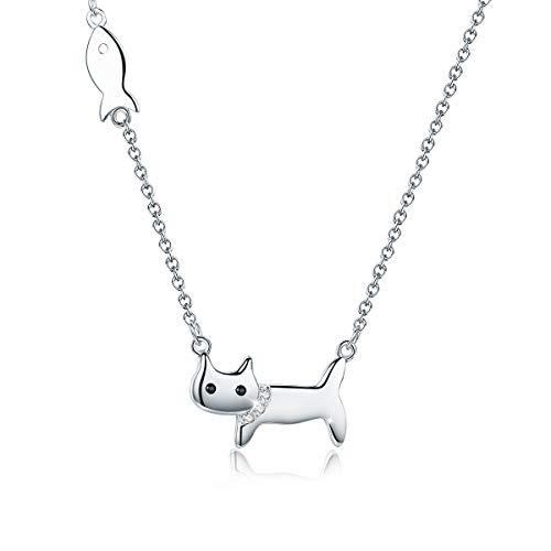 SIMPLOVE Katze Halskette 925er Sterlingsilber, 18K Platin Plattiert Frech Niedlich Glückliche Katze Anhänger Halskette Hypoallergene Zierliche Halskette Schöne Katze Halskette für Frauen, Mädchen