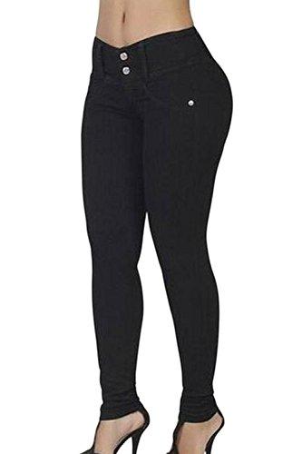 YACUN Les Femmes Un Maigre Pantalon Cheville Derrière La Levée De Jambières Black