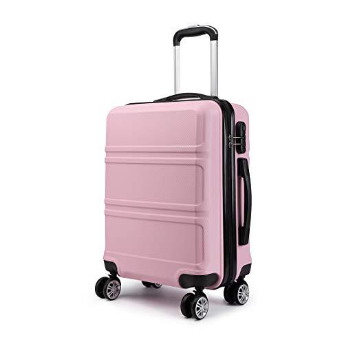 Kono Valigia da 20'ABS Carbin Valigia leggera per il trasporto di 4 ruote girevoli da 55 cm Bagaglio a mano (Rosa)