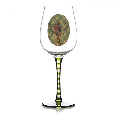 Shruti personalisierbar 'Fab Funky' Hirsch im Bowler Hat Country Wein Glas mit eigenen Nachricht -