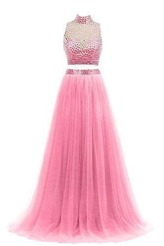 Baijinbai Damen A-Linie Kleid Pink