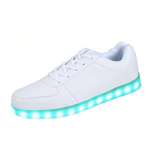 SAGUARO Unisex 7 Farbe Farbwechsel USB Aufladen LED Leuchtend Sport Schuhe Sneaker Turnschuhe Weiß 44EU -