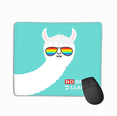 Mousepad Custom Design Gaming Mouse Pad Rubber Oblong Mouse Mat 11.81 X 9.84 Inch no Drama Llama face Rainbow Glassess Alpaca Animal Cute Cartoon Funny Kawaii Character Greeting Card no