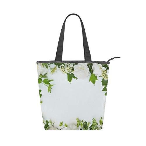 LAZEN Stilvolle Leinwand Einkaufstasche Handtasche 14 x 4,5 x 15 Zoll niedlich Pfingstrosen Hellebore Vorlage Grußkarte weiß