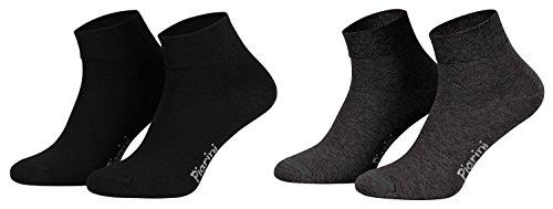 Piarini 8 Paar kurze Socken Kurzsocken Quarter Socken für Damen Herren Kinder | dünn, ohne Gummibund | 4 Paar anthrazit/ 4 Paar schwarz 39-42