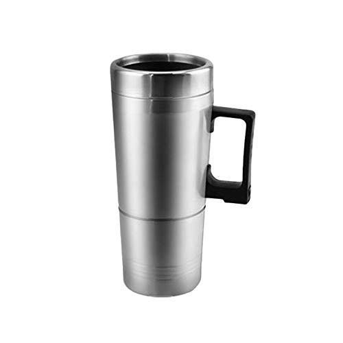 Portable électrique automatique voiture chauffage tasse en acier inoxydable café thé chauffe-eau avec poignée adaptateur allume-cigare - Argent