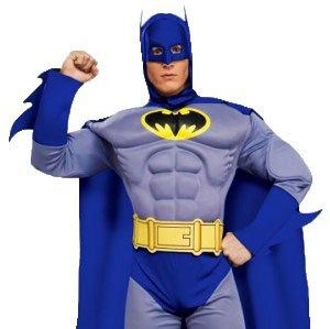 erdbeerloft - Herren Batman Kostüm - Ganzkörperanzug, Umhang Armstulpen Kopfbedeckung Muskel-Brustkorb Gürtel Schuhüberzieher, Blau, M-L