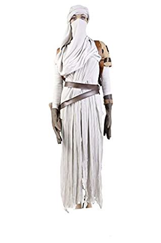 Fuman Star Wars VII: The Force Awakens Rey Cosplay Kostüm Damen weiß XL (Rey Kostüm Damen)