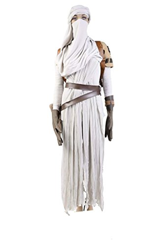 FUMAN Star Wars VII: The Force Awakens Rey Cosplay Kostüm Damen weiß M (Rey Star Wars The Force Awakens Kostüm)