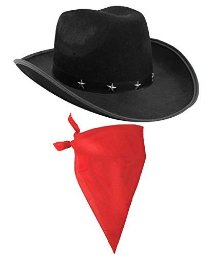 ILOVEFANCYDRESS Cowboy Zubehör-Set mit schwarzem Cowboyhut mit Stern-Nieten und Band und farbiges Bandana / Tuch mit Paisley-Muster (Hirten Kostüm Muster)