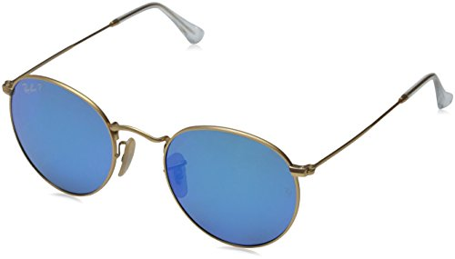 Ray-Ban Unisex Sonnenbrille Rb 3447, (Gestell: Gold, Gläser: Polarized Blau Flash 112/4L), Medium (Herstellergröße: 50) -