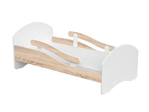 Clamaro 'LEO' Kinderbett Jugendbett 160x80 mit verstellbarem Rausfallschutz (beidseitig) und Kantenschutzleisten, Bett Set inkl. Lattenrost und Matratze - Weiß/Eiche -