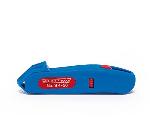 WEICON Kabelmesser No. S 4-28 | Abisoliermesser mit einfahrbarer Hakenklinge | Hohe Sicherheit | Universal Abisolierwerkzeug mit verstellbarer Schnitttiefe | Entmantler für Rundkabel | Arbeitsbereich 4 - 28 mm Ø | TÜV | blau / rot | 100% Made in Germany