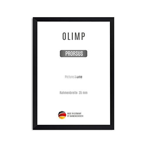 OLIMP PRORSUS 35 mm Bilderrahmen nach Maß für 23 x 11 cm Bilder, Farbe: Schwarz matt, Handgefertigter MDF Rahmen mit bruchfester Anti-Reflex Kunstglasscheibe und stabiler MDF Rückwand, Rahmen Breite: 35 mm, Außenmaß: 28,8 cm x 16,8 cm (Quadratische Bilderrahmen 11x11)