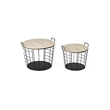 LIFA LIVING Set of 2 Nest of 2 Tables with Storage Box, Wooden Removable Top & Metal Handles, Black Wire Round Side Coffee End Tables, for Living Room, Kitchen