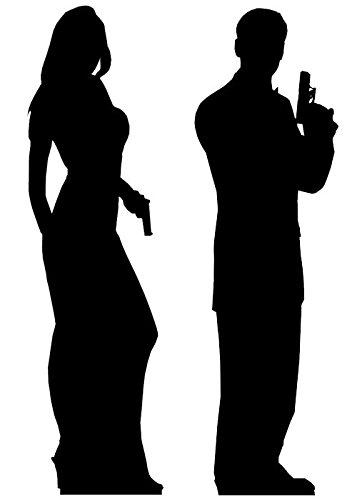 idealWigsNet Doppelte Geheimagent-Silhouette-Ausschnitte für männliche und weibliche Personen - 1,85 m