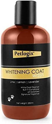 Petlogix Natural Whitening Coat Wash Pet Shampoo for Dogs & Puppies Cleanser with Lemon & Lavender Min