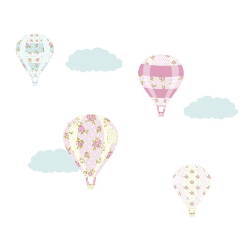 Vintage hot air balloon wall stickers (Large size) | Girls wall stickers perfect for decorating a girl's nursery or bedroom