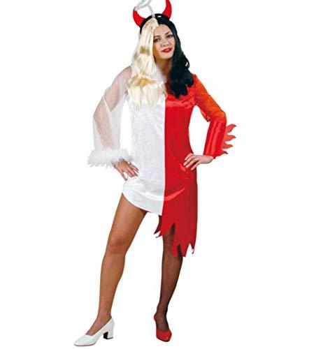 KarnevalsTeufel Damenkostüm Teuflischer Engel 2-teilig Kleid mit Haarreif in weiß-rot Teufelchen und Engelchen Gut und Böse (Gut Und Böse Kostüm)