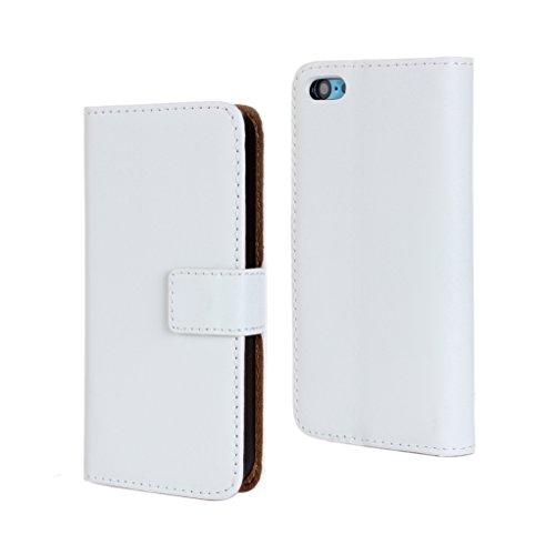 Trumpshop Smartphone Case Coque Housse Etui de Protection pour Apple iPhone 5/5s/SE + Orange + Ultra Mince Smartphonecoque Portefeuille Cuir Véritable Fonction Support Fentes de Carte Anti-Choc Blanc