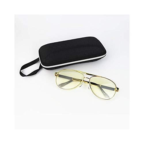 Aviator Sonnenbrille für Herrenmode, Kristalllinse, UV-Schutz. Brille (Farbe : Golden/Yellow)