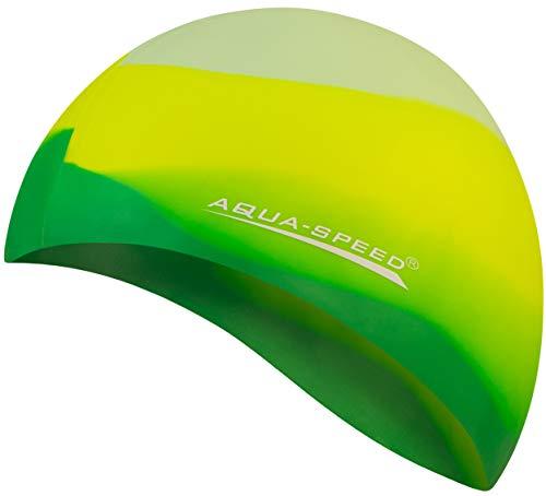 Aqua Speed Badekappe Herren | Silikon | Bademütze | Badehaube | Mehrfarbig + Aufbewahrungstasche Bunt / 72