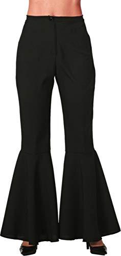 Kostüm Stretch - Damen Kostüm Hippie Hose Schlaghose schwarz Karneval Fasching Gr.42