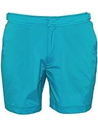 Orlebar Brown Mens Bulldog Sport Swim Shorts, Azure Blue Swimming Trunks