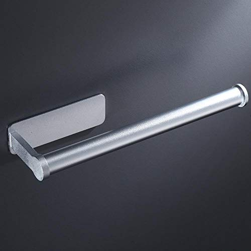 Freier Nagel minimalistischer Raum Aluminium Küchenregal mit doppelten Verwendungszweck Haftfolienrollenhalter Handtuchhalter Toilettenpapierhalter,Licht,1