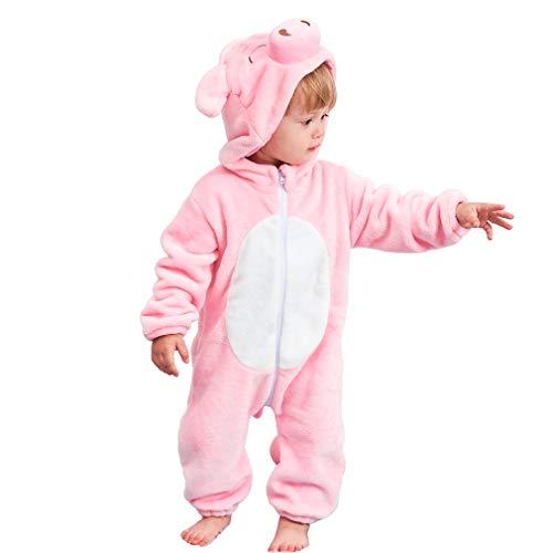 MICHLEY Baby Spielanzug Schlafanzug Flanell Frühling Strampler Pyjama kostüm Bekleidung Karikatur Tier Jumpsuit für mädchen und Junge(Rosa 90) (Snap Pyjama-hose)