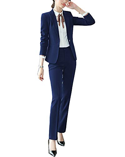 cd8762da001ec ShiFan Completo Gonna E Giacca Donne Slim Elegante Maniche Lunghe Blazer  Outwear Blu 2 S
