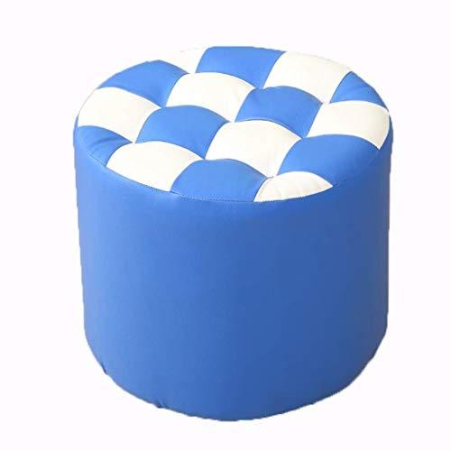 Blau Leder Osmanischen (RFJJ Osmanische Fußhocker Hocker Fußhocker Tritthocker Massivholzhocker Wohnzimmer Sofa Couchtisch Hocker Schuhe wechseln Hocker Leder Pier Rundhocker (Color : Blue, Size : 40 * 35cm))