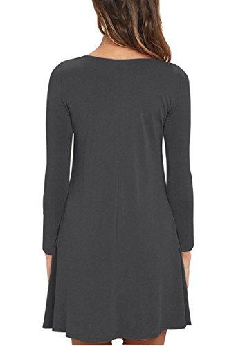 VIISHOW Frauen Langarm Casual Loose T-Shirt Kleid Grau