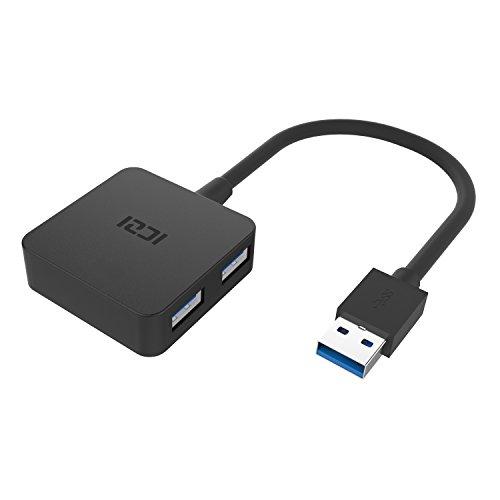 ICZI Hub USB 3.0 4 Porte, Ultra Mini Hub USB 3 per Trasmissione Dati Alta Velocità (5 Gbps) e Sincronizzazione, Ideale per Ultrabook, Portatile e Tablet PC, Compatibili con Windows XP/ Vista/ 7/ 8/ 10, Mac OS X, Nero