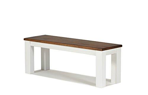 Sitzbank ,,Rio Landhaus,, 120x38cm, Bank Massivholz Pinie, Sitzfläche rustikal gearbeitet, Farbton: Alt Weiss / Kolonial Zimt, Optional: passende Tische