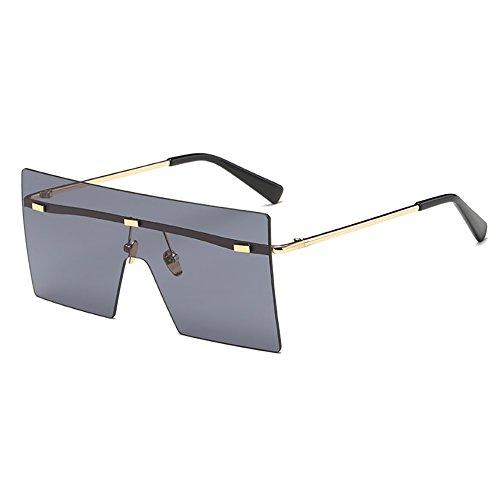 SHEEN KELLY Moderne Mode Flat Top Flash Spiegel Kunststoff Sonnenbrille randlosen quadratischen Rahmen