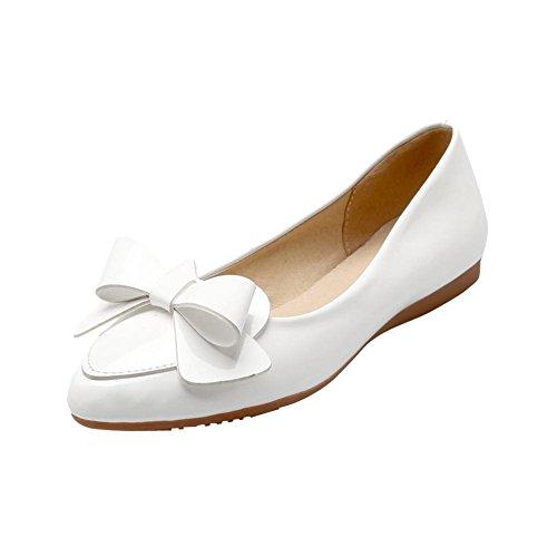 MissSaSa Damen modern keilabsatz Pointed Toe Low-cut Lackleder Slipper mit Schleife Weiß