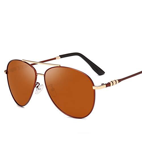 LLISA Mode polarisierte Sonnenbrille Pilot Metallrahmen Sonnenbrille für Schutzbrille Spiegel Objektiv Uv400,Kaffee Tee