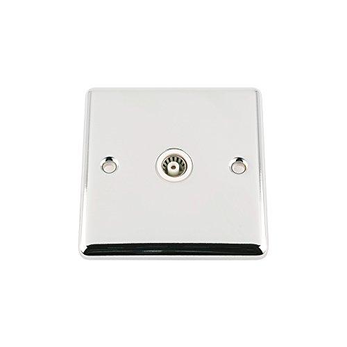 A5tvs1gccwh 1-Gang Classic Chrom poliert TV Koax Antenne Single Sockel mit weißem Einsatz -