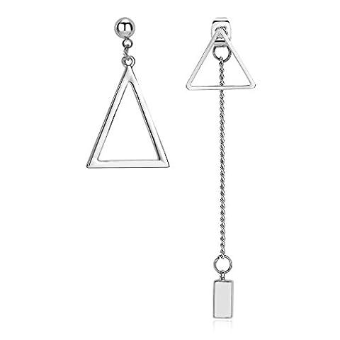 Adisaer Drop Earrings for Women Asymmetrical Earrings Triangle Dangle Chain Bar Women Earring Gold Plated