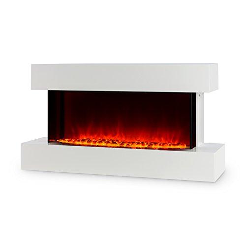 Klarstein Studio-2 • Elektrischer Kamin • Heizlüfter • Elektrokamin • Flammenillusion • 1000/2000 Watt • Lounge-Stil • Glasfront • LED • Wochentimer • Überhitzungsschutz • Fernbedienung • weiß
