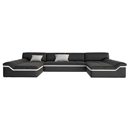 XXL Wohn-Landschaft mit Kunstleder Bezug 380x220 cm U-Form schwarz / weiß | Sarari-U | Designer Eck-Sofa mit 2 Recamieren | Couch-Garnitur für Wohnzimmer schwarz / weiss 380cm x 220cm - 6
