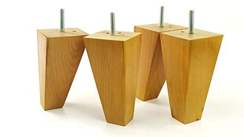 4x Ersatz Beinen 180mm Höhe Massivholz Möbel Füße für Sofas, Stühle, Schränke, M8(8mm) tsp2050 eiche -