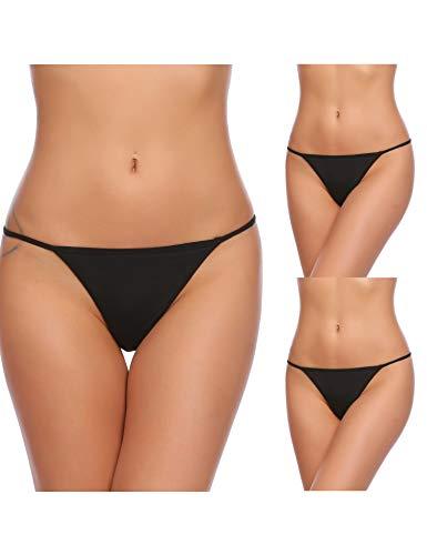 Untlet Damen 3er Pack Slip Unsichtbar Bikinislip Tanga Low Schnitt Unterhose Sexy Alltags Hüftslip Panty Slips