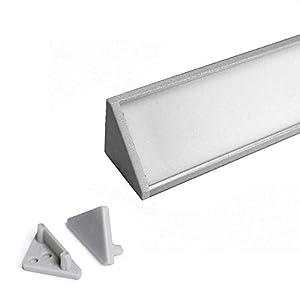 CABI (CA) Eckprofil Aluminium 1m eloxiert | Innen-Eckleiste für Led Streifen bis 12mm Breite | Eck-Profil + Acryl Abdeckung milchig-weiß (opal) + Endkappen |Aluprofil belastbar