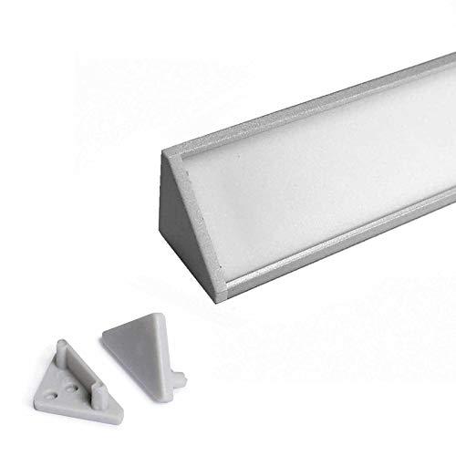 CABI (CA) Eckprofil Aluminium 2m eloxiert | Innen-Eckleiste für Led Streifen bis 12mm Breite | Eck-Profil + Acryl Abdeckung milchig-weiß (opal) + Endkappen |Aluprofil belastbar