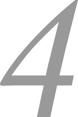 Selbstklebende Hausnummer - 4 - silber, 10 cm hoch -