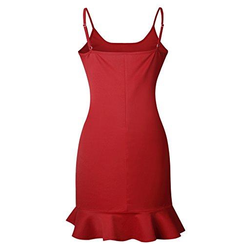 Donna Senza Manica Vestito - Sexy Cinghia Slim Fit A-Line Abito Moda Tinta Unita Cocktail Sera Festa Club Bodycon Abito Pieghe Clubwear Top S-XL Rosso 1